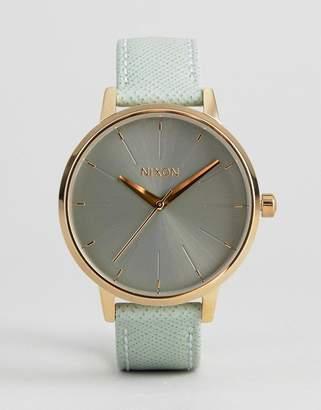 Nixon Kensington Leather Watch In Green