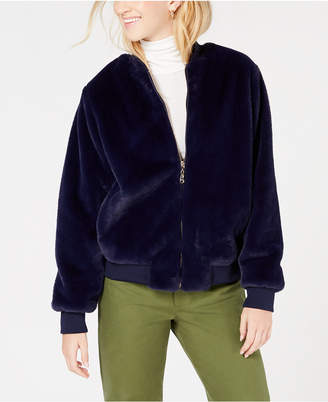 Say What Juniors' Faux-Fur Bomber Jacket