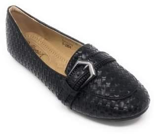 Victoria K. Victoria K Women's Weaved Texture Zipper Design Strap Buckle Ballerina Flats
