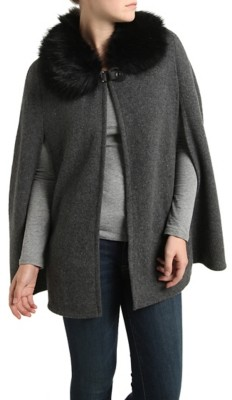 Kelly & Katie Faux Fur Collar Poncho