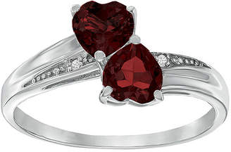 FINE JEWELRY Genuine Garnet and Diamond-Accent Sterling Silver Double-Heart Ring