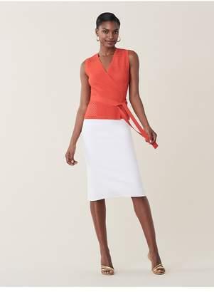 Diane von Furstenberg Saffa Perforated Stretch-Knit Wrap Shirt