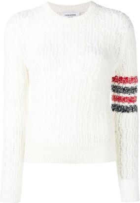 Thom Browne 4-Bar Open Stitch White Pullover