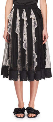 Simone Rocha Tulle Midi Skirt with Vertical Lace Panels