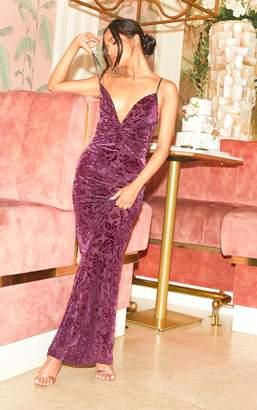 PrettyLittleThing Purple Printed Velvet Knot Front Maxi Dress