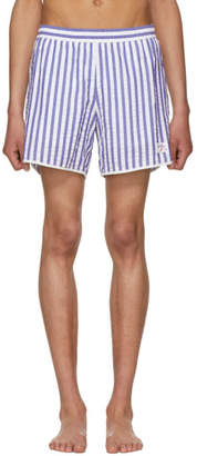 Noah NYC Blue and White Stripe Seersucker Running Shorts