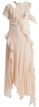 Jonathan Simkhai Asymmetric Ruffled Cut Out Silk Blend Dress - Womens - Light Pink