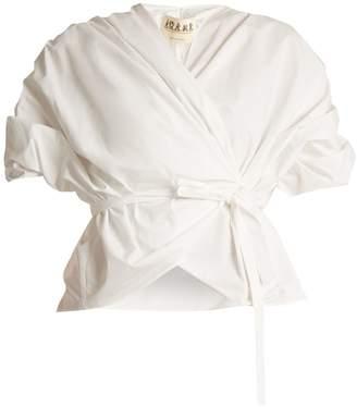 Awake Gathered cotton wraparound top