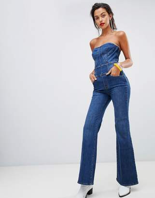 Miss Sixty crop flare strapless denim jumpsuit