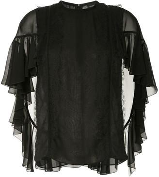 Giambattista Valli cascading ruffle sleeve blouse