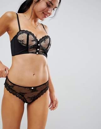Asos DESIGN PREMIUM Pearl & Lace Hipster Bikini Bottom