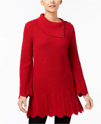 Style&Co. Style & Co Scallop-Hem Tunic Sweater