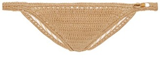 She Made Me Savarna Hipster Crochet Bikini Briefs - Womens - Beige