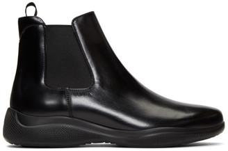 Prada Black Spazzolato Rois Chelsea Boots