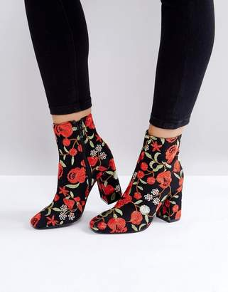Public Desire Cleo Embroidered Heeled Ankle Boots