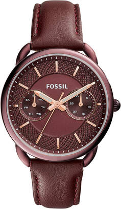 Fossil Women's Tailor Red Leather Strap Watch 35mm ES4121