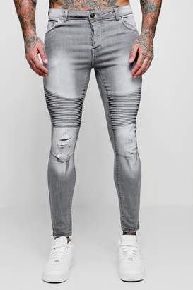 boohoo Spray On Skinny Biker Jeans With Distressing