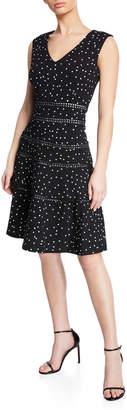 Taylor Polka-Dot Fit-and-Flare Dress