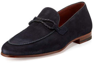 Magnanni Suede Loafer with Woven Leather Strap, Navy