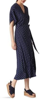 Whistles Dot-Print Jersey Wrap Dress