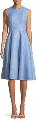 Lela Rose Sleeveless Fit-and-Flare Woven Midi Dress