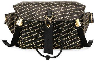 Bally Men's Cage Logo-Print Leather Crossbody Bag