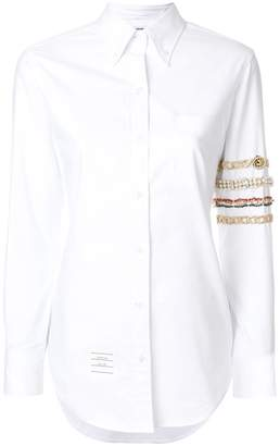 Thom Browne Classic Long Sleeve Button Down Point Collar Shirt With Jewelry 4-bar Applique In Oxford