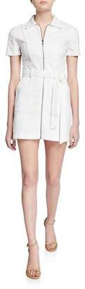 Alice + Olivia JEANS Gorgeous Zip-Front Short-Sleeve Mini Dress