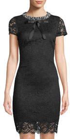 Pearly-Collar Lace Sheath Dress