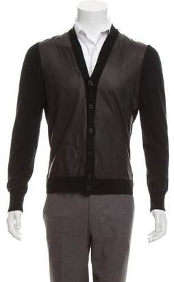 Bottega Veneta Leather-Trimmed Cashmere Cardigan