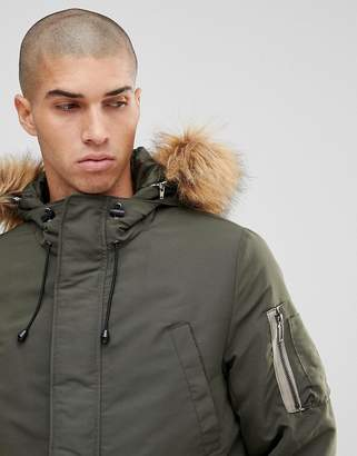 ONLY & SONS Padded Jacket With Removable Faux Fur Hood