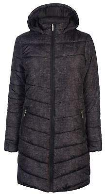 Lee Cooper Womens Textile Long Jacket Padded Coat Top Lightweight Hooded Zip