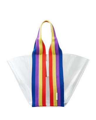 Rebecca Minkoff Fan See-Through Tote Bag with Rainbow Webbing