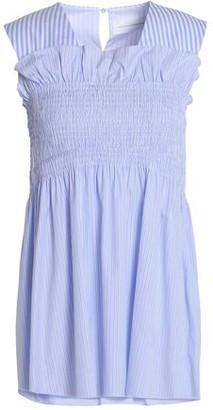 Victoria Beckham Victoria Shirred Striped Cotton-Poplin Top