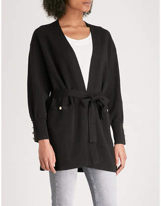 Claudie Pierlot Button-detail belted wool-blend cardigan
