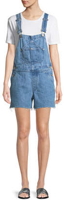 Rag & Bone Patched Cutoff Short Dungaree Denim Overalls