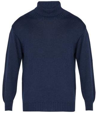 Blend of America Inis Meáin - Alpaca And Silk Roll Neck Sweater - Mens - Navy