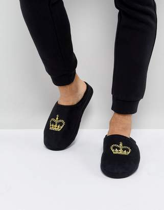 Asos DESIGN Slip On Slippers In Black With Crown Embroidery