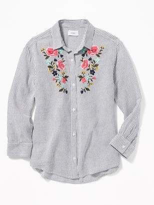 Old Navy Floral-Embroidered Boyfriend Tunic Shirt for Girls