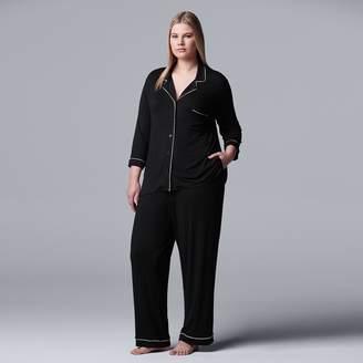 Vera Wang Plus Size Simply Vera Pajamas: Basic Luxury Notch Pajama Set