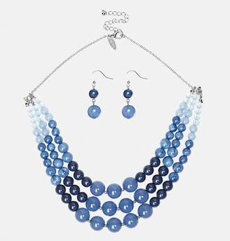 Avenue Multi Row Blue Bead Necklace