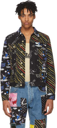 Loewe Black Paulas Ibiza Edition Denim Multi Flag Stripe Jacket
