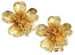 Oscar de la Renta Delicate Flower Goldtone Stud Earrings
