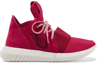 Adidas Originals - Tubular Defiant Neoprene And Suede Sneakers - Red $110 thestylecure.com