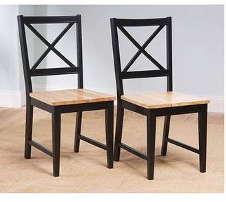 Virginia Cross-Back Chair, Black and Natural, Set of 2