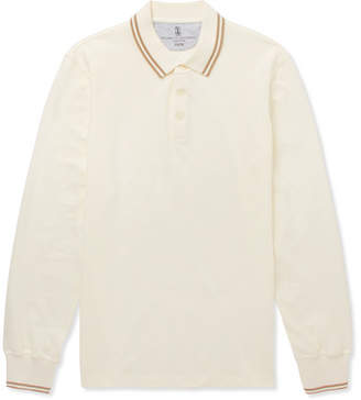 Brunello Cucinelli Slim-Fit Contrast-Tipped Cotton-Pique Polo Shirt - White