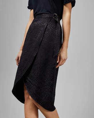 Ted Baker ALLEXXI Belted wrap leopard midi skirt