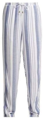 Melissa Odabash Kelly Striped Wide Leg Trousers - Womens - Blue Stripe