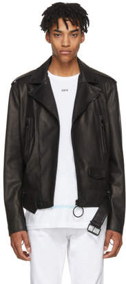 Off-White Black Leather Firetape Biker Jacket
