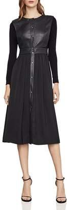 BCBGMAXAZRIA Faux Leather Detail Snap-Front Dress